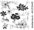 "Set of black floral design elements (from my ""Big floral collection"") - stock vector"