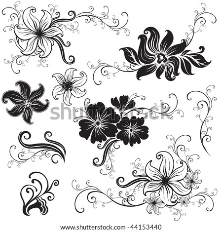 """Set of black floral design elements (from my """"Big floral collection"""") - stock vector"""