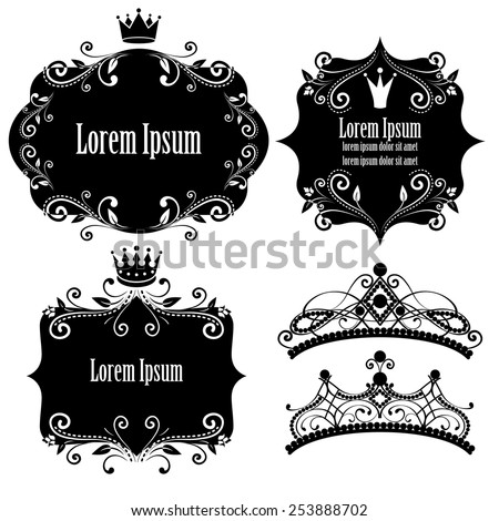 set of black floral frames with crowns isolated on white background. design elements for little princess, glamour girl and woman. can use for birthday card, wedding invitations. vector illustration