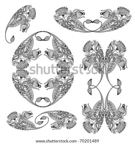 Set of black flower design - stock vector