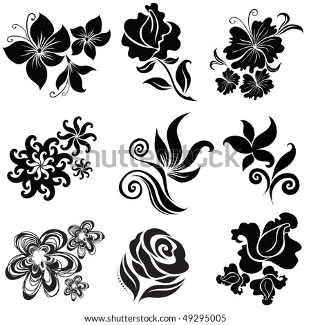 """Set of black flower design elements (From my big """"Floral collection"""") - stock vector"""
