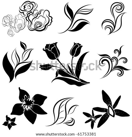 """Set of black flower design elements (from my big """"Flower-set collection"""") - stock vector"""