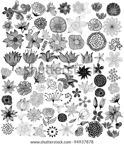 Set of black flowers - stock vector