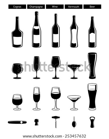 set of black glossy wine bottles with highlight, wineglasses - stock vector