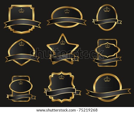 set of black gold-framed labels, vector illustration - stock vector