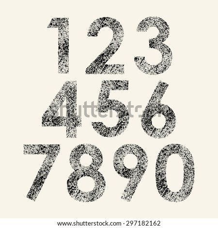 Set of black grunge numbers isolated on white background. eps10 - stock vector