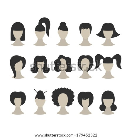 Set of black hairstyles for woman isolated on white background  - stock vector