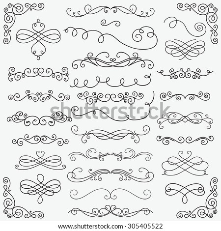 Set of Black Hand Drawn Rustic Doodle Design Elements. Decorative Swirls, Scrolls, Text Frames, Dividers, Corners. Vintage Vector Illustration. Pattern Brushes - stock vector