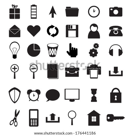 Set of black icons