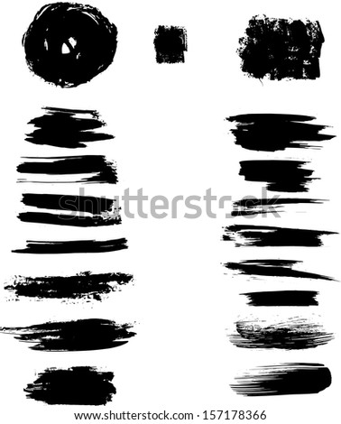 Set of black ink strokes on white background. eps10 - stock vector