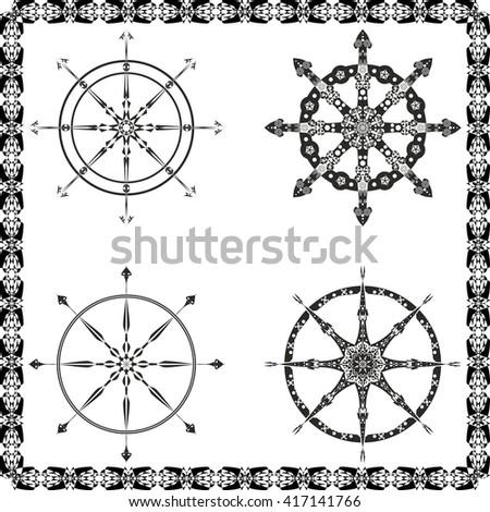 set of black isolated steering wheel vector. eps 10 - stock vector