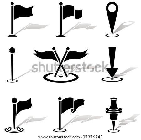 Set of black labels icons, illustration - stock vector
