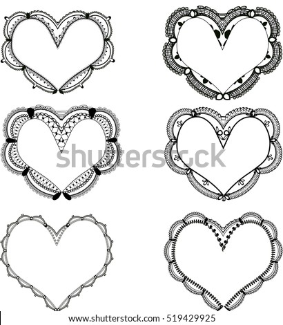 Set Black Lace Heart Shaped Frames Stock Vector HD (Royalty Free ...