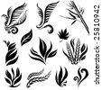 Set of black leaf elements for design - stock vector