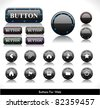 Set of black led plastic buttons for web. Vector illustration. - stock vector