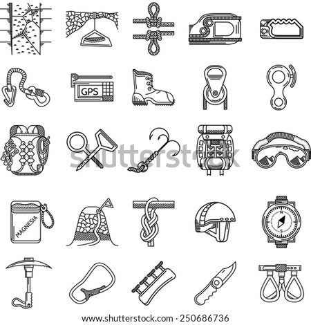 Set of black line vector icons for equipment and outfit for rock climbing, alpinism, mountaineering on white background for your site. - stock vector