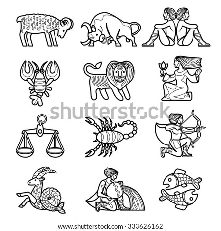 Set of black linear zodiacal signs with figures on white background. Vector illustration - stock vector