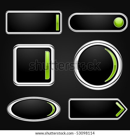 Set of black matte buttons - stock vector