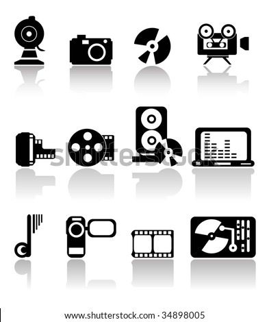 SET OF BLACK MEDIA ICONS - stock vector