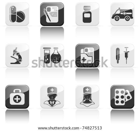 Set of black medical icons, illustration - stock vector