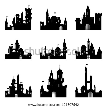 Set of black medieval castle silhouettes. Vector illustration. - stock vector
