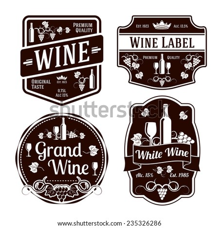 Set of black monochrome wine labels of different shapes. Vector - stock vector