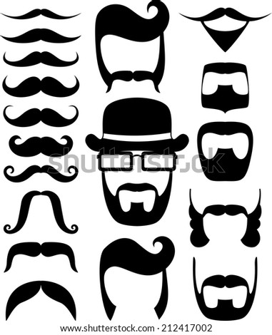 set of black moustaches and beard silhouettes, design elements for party props isolated on white background - stock vector