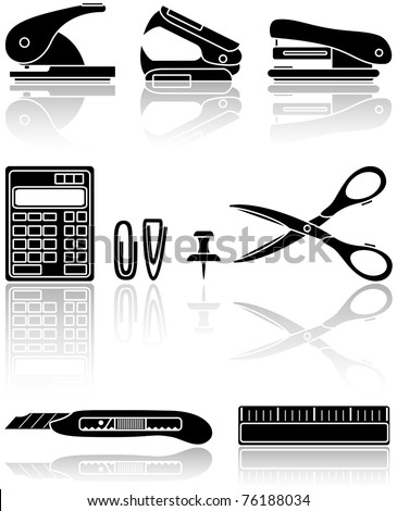 Set of black Office icons, illustration - stock vector