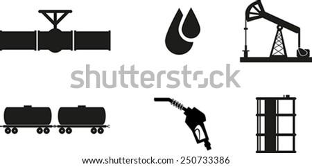 Set of black oil icon - stock vector