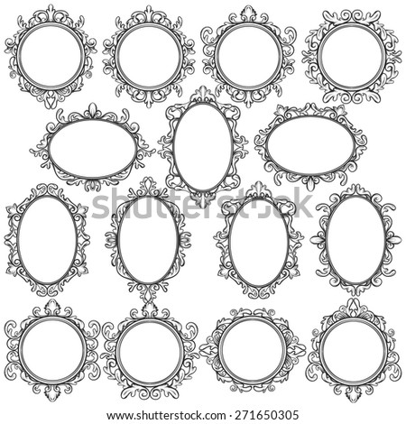 vintage frame design oval. Set Of Black Oval And Round Vintage Frames, Design Elements Frame