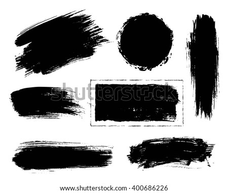 Set of black paint, ink, grunge, dirty brush strokes.  - stock vector