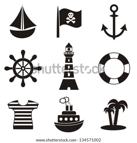 set of black pirates and sailors icons on white background - stock vector