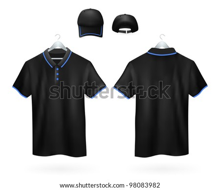 Set of black Polo shirts template and baseball cap for men.