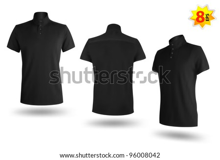 Set of black Polo shirts template for men. Mesh and gradients only design. - stock vector