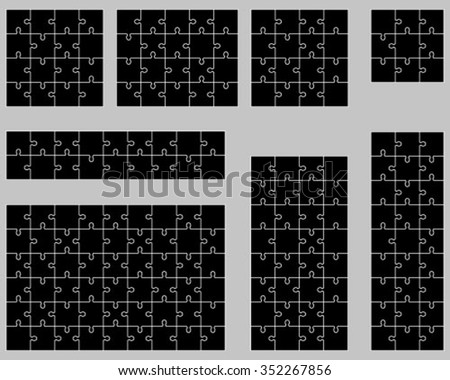 Set of black puzzles, vector