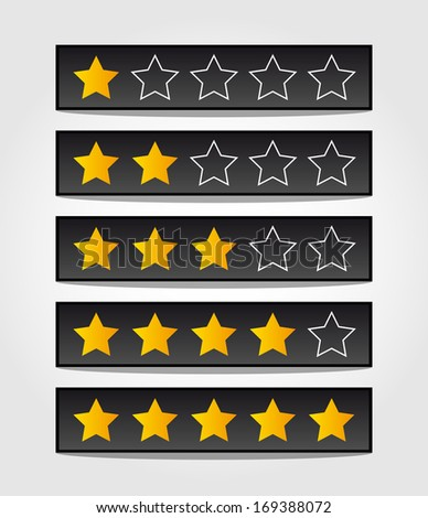 set of black rating stars - stock vector