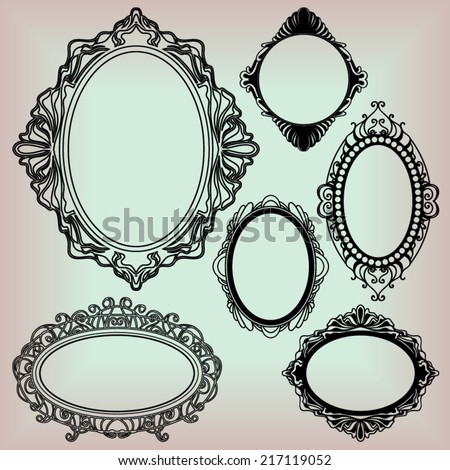 set of black round vintage frames, design elements - stock vector