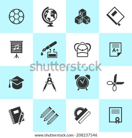 Set of black school and education icons. Vector school symbols in flat simple style.  - stock vector