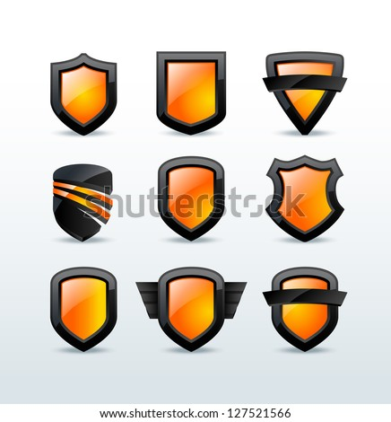 Set of black shiny shield icons vector illustration - stock vector