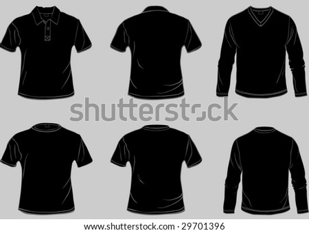Set of black shirt templates with front and back in separate easily editable layers - stock vector