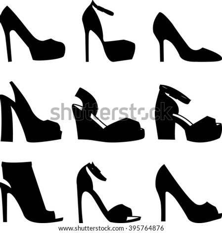 Set of black shoes silhouettes on white background - stock vector