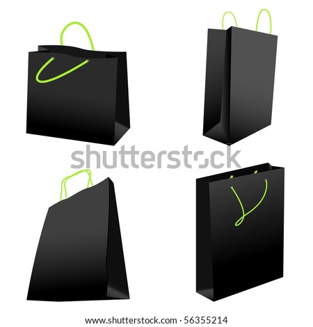 set of black shopping bags. vector illustration