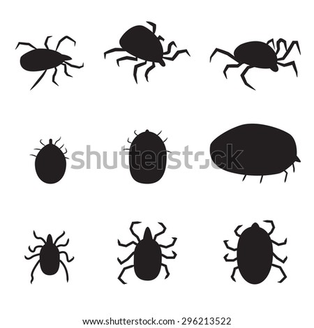 Set of black silhouette dog tick icon. isolated vector illustration. Side and top view.