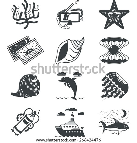 Set of black silhouette icons for underwater life and diving research on white background. - stock vector