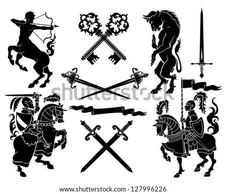 Set of black silhouette on knight, minotaur and centaur heraldry element. - stock vector