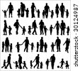 Set Of Black Silhouettes Illustration Of Parents With Children - stock vector