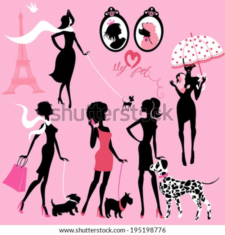 Set of black silhouettes of fashionable girls with their pets - dogs (Dalmatian, terrier, poodle, chihuahua) on a pink background  - stock vector
