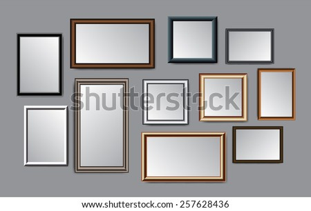Set of black silver brown frames gray isolated background. - stock vector