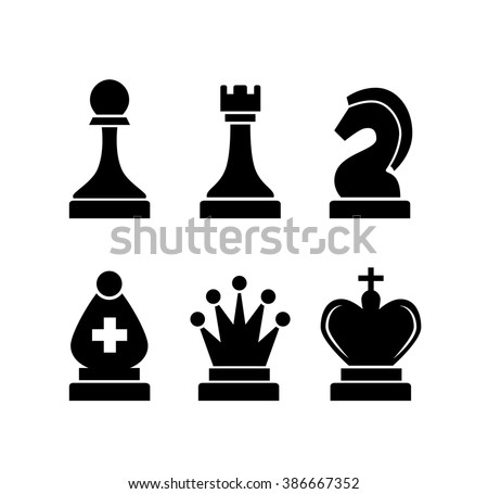 Set of black simple chess icons isolated on white - stock vector