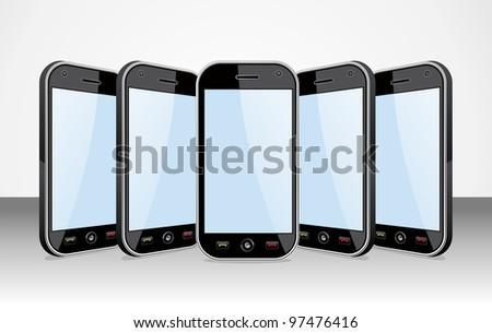 Set of black smartphones templates on white background. You can place your own images on the screens. EPS 8 vector, cleanly built grouped and ordered in layers for easy editing. - stock vector